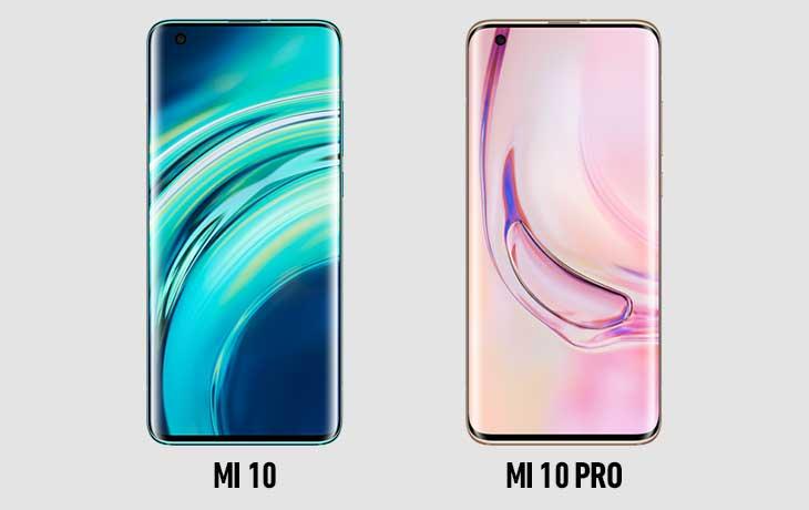 Xiaomi Mi 10 und Xiaomi Mi 10 Pro Vorderseiten