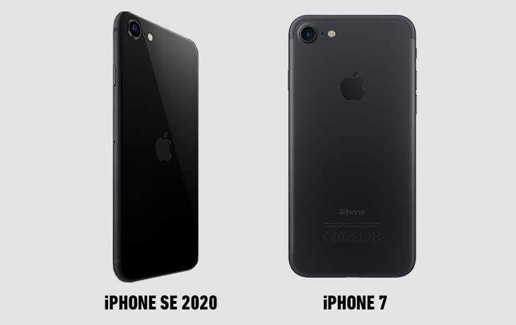 iPhone SE vs. iPhone 7 hinten