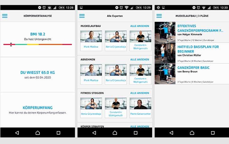 LOOX Fitness Planer Screenshots