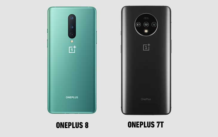 OnePlus 8 und OnePlus 7T Rückseiten