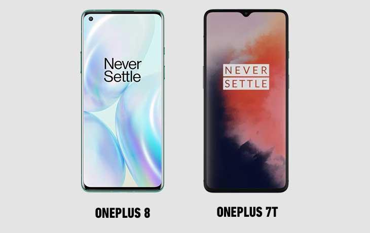 OnePlus 8 und OnePlus 7T Voderseiten