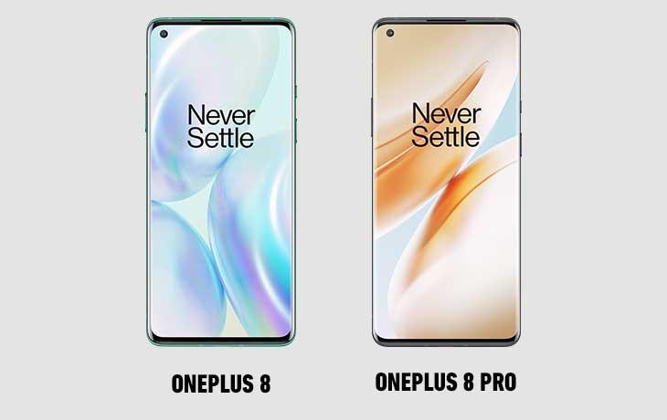 OnePlus 8 und OnePlus 8 Pro Vorderseiten