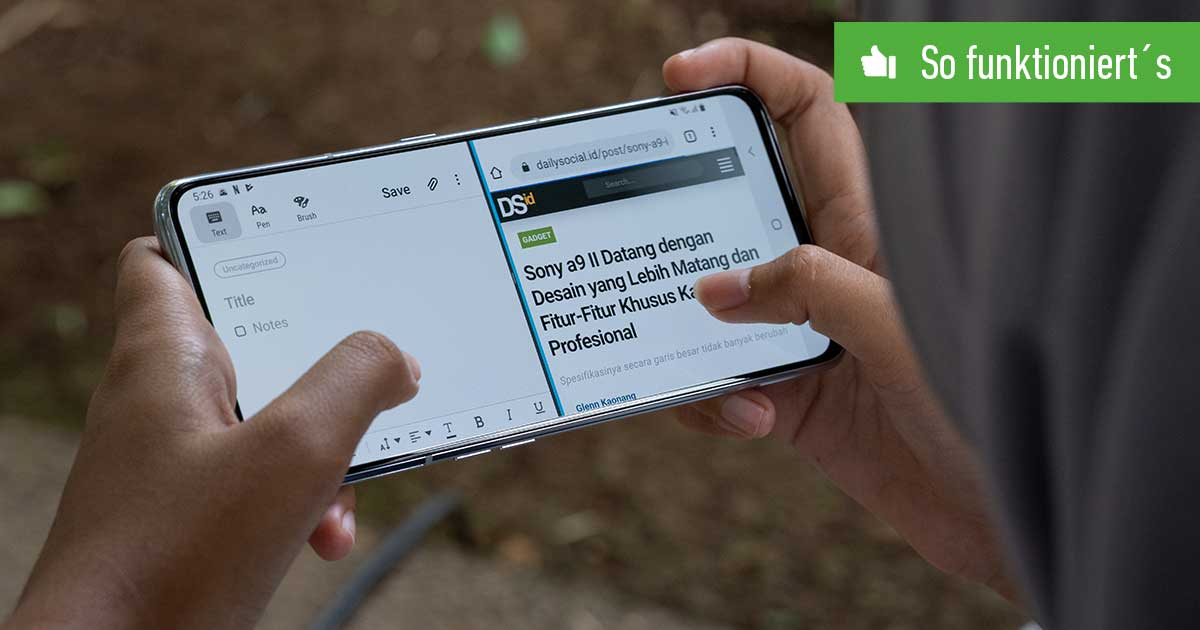 Header Geteilter Bildschirm Android