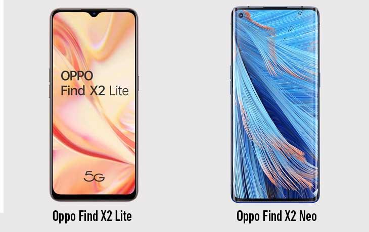 Oppo Find X2 Neo vs Lite vorne