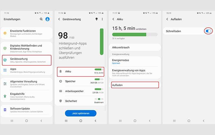 Schnellladen deaktivieren Android
