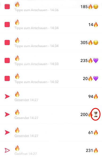 Snapchat-Flammen
