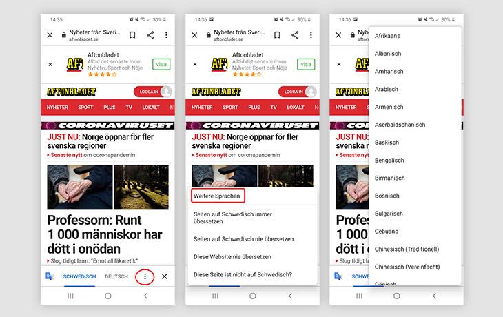 Webseiten übersetzen Chrome Sprachen
