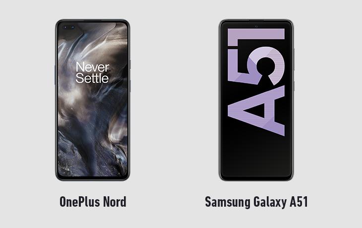 OnePlus Nord und Galaxy A51 Vorderseiten