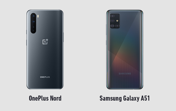 OnePlus Nord und Galaxy A51 Rückseiten
