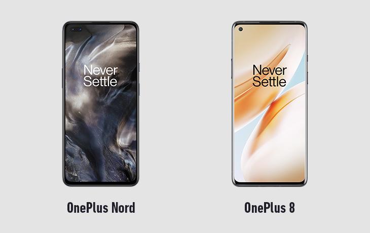 OnePlus Nord und OnePlus 8 Voderseite