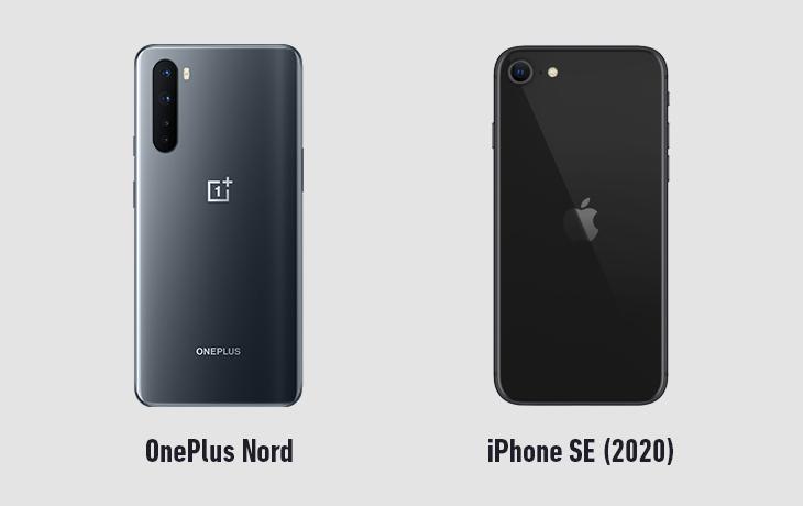 OnePlus Nord und iPhone SE 2020 Rückseiten