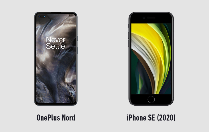 OnePlus Nord vs iPhone SE 2020 Vorderseiten