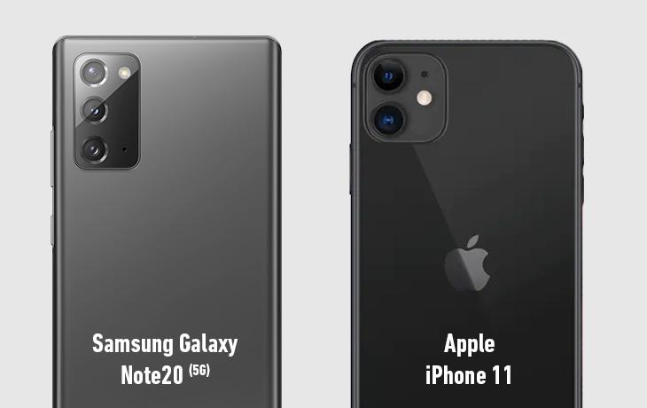 Samsung Galaxy Note 20 5G vs. Apple iPhone 11 Kameras