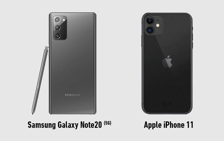 Samsung Galaxy Note 20 5G vs. Apple iPhone 11 Rückseite