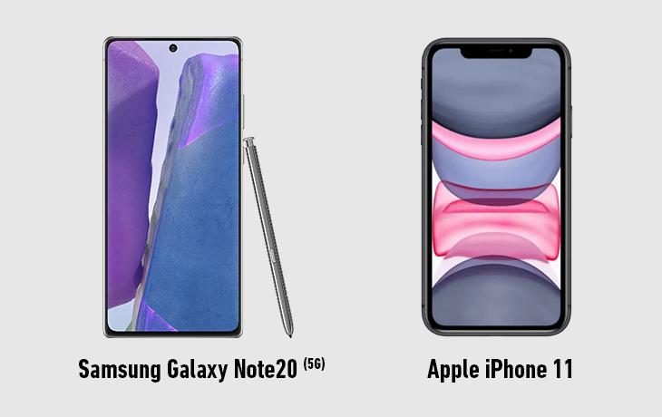 Samsung Galaxy Note 20 5G vs. Apple iPhone 11 Vorderseite