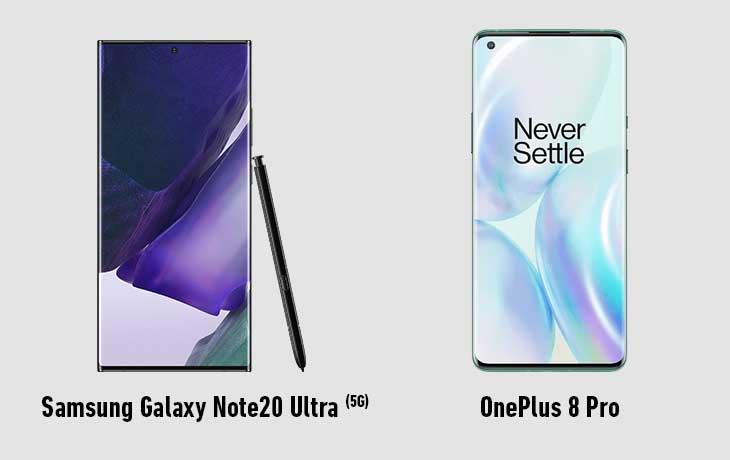 Galaxy Note 20 Ultra 5G und OnePlus Pro Front