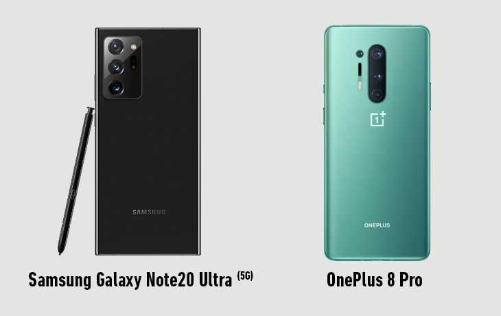 Galaxy Note 20 Ultra 5G und OnePlus Pro Rückseite