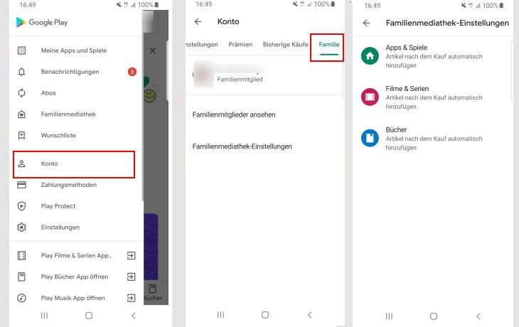 Google Play: Familienmediathek anmelden und verwalten - So