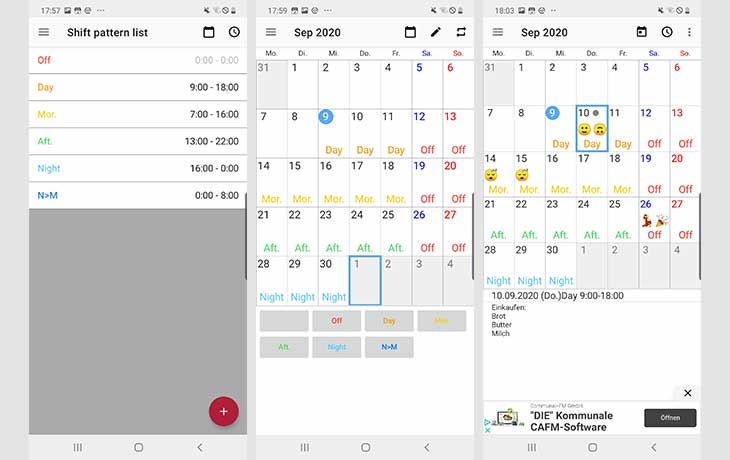 Dienstplan-App Calendar
