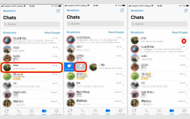 iPhone WhatsApp Chat fixieren