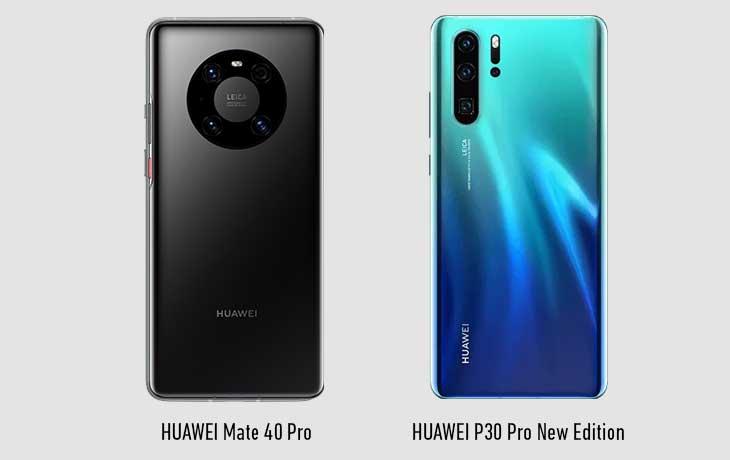 HUAWEI Mate 40 Pro und HUAWEI P30 Pro New Edition Rückseiten