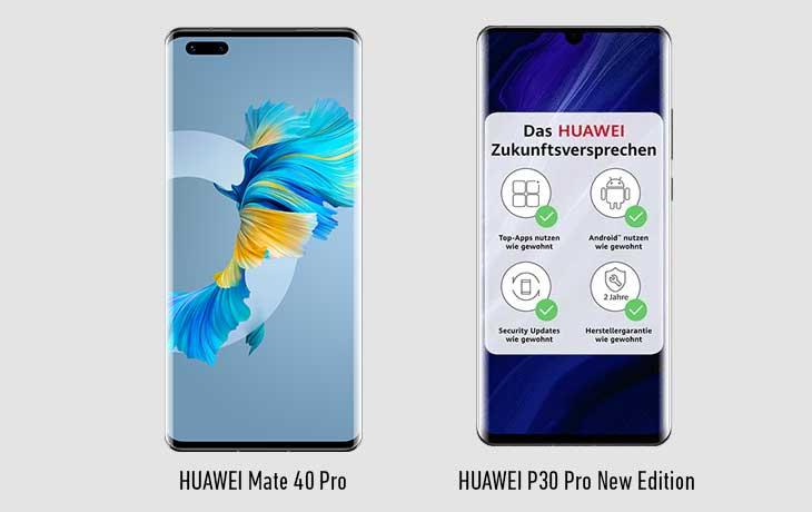 HUAWEI Mate 40 Pro und HUAWEI P30 Pro New Edition Vorderseiten