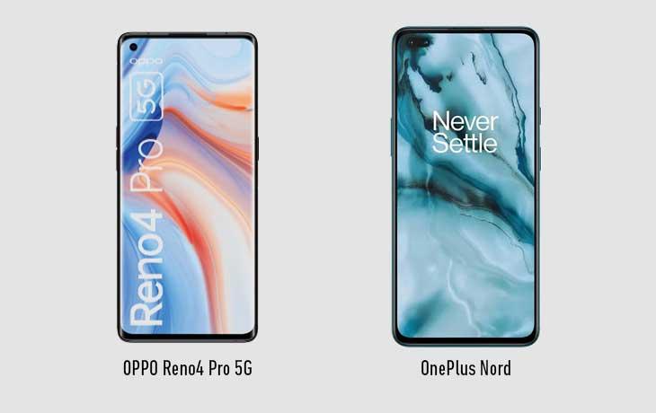 OPPO Reno4 Pro 5G und OnePlus Nord Vorderseite