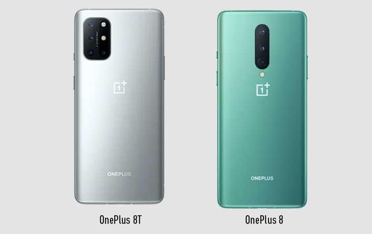 OnePlus 8T und OnePlus 8 Rückseite