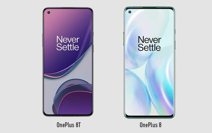 OnePlus 8T und OnePlus 8 Voderseite
