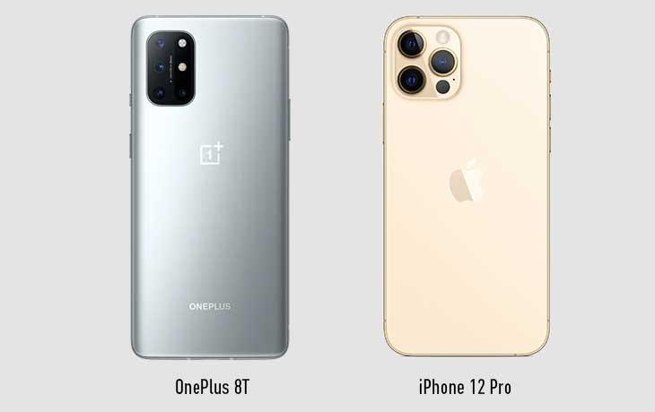 OnePlus 8T und iPhone 12 Pro Rückseite