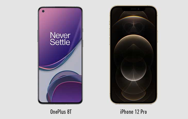 OnePlus 8T und iPhone 12 Pro Vorderseite