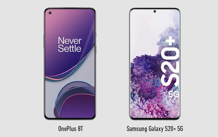 OnePlus 8T vs S20 Plus Vorne