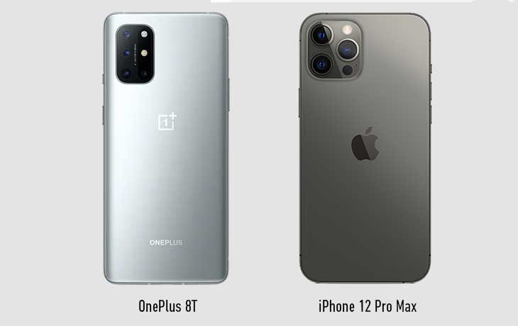 OnePlus 8T vs iPhone 12 Pro Max Hinten