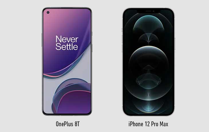 OnePlus 8T vs iPhone 12 Pro Max Vorne