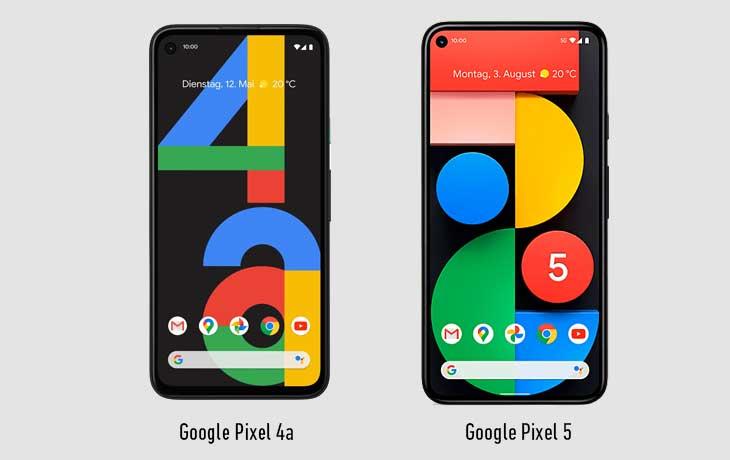 Pixel 4a 5G und Pixel 5 Front