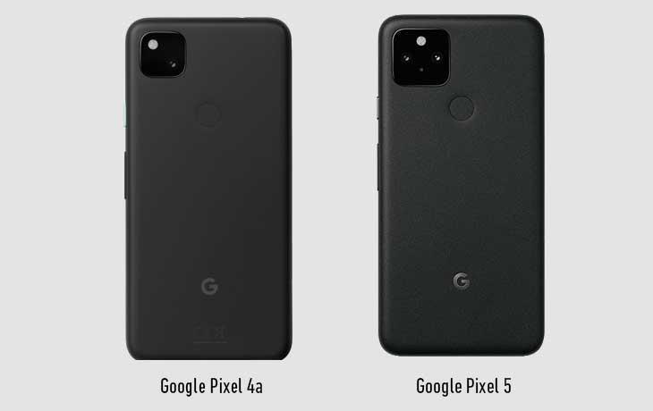 Pixel 4a 5G und Pixel 5 Rückseite