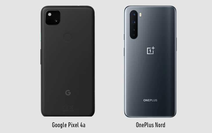 Pixel 4a und OnePlus Nord Rückseiten