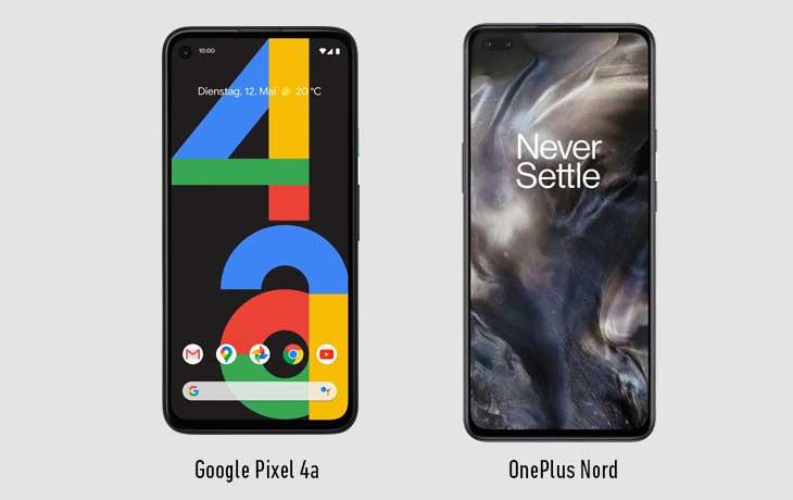Pixel 4a und OnePlus Nord Vorderseiten