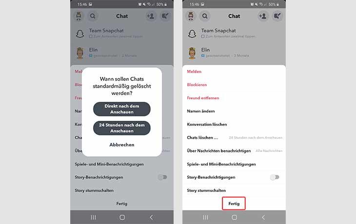 Snapchat Chat löschen Einstellungen 2