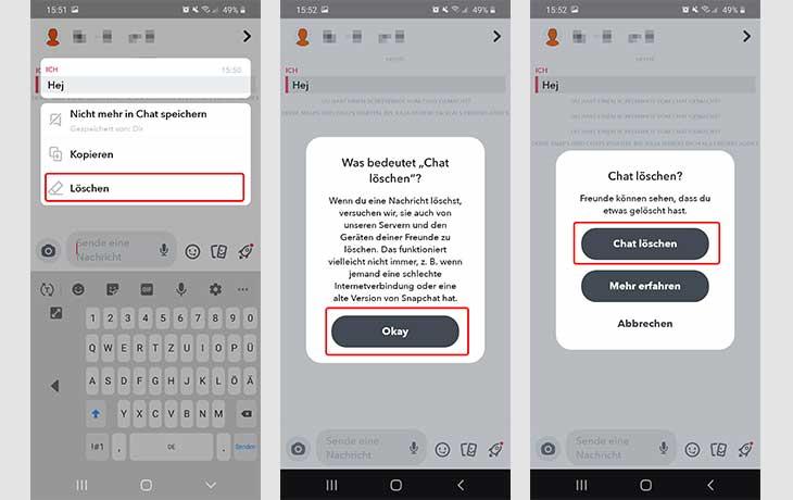 Snapchat Chat löschen