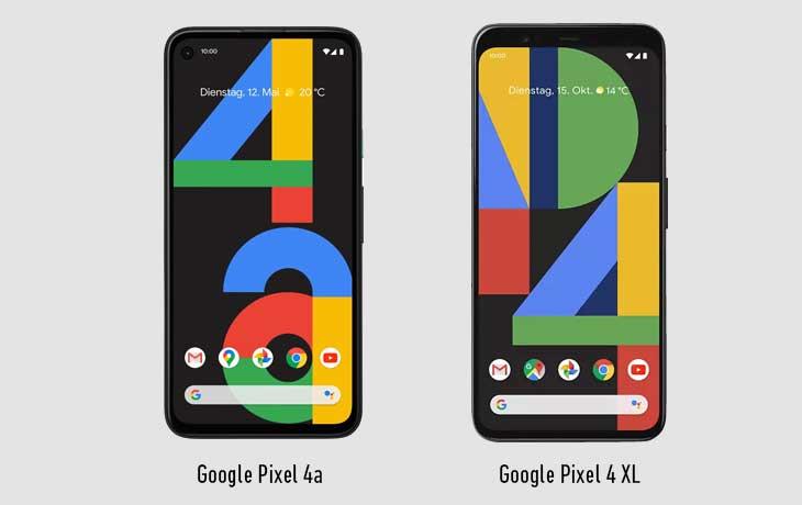 Vorne Pixel 4a vs Pixel 4 XL