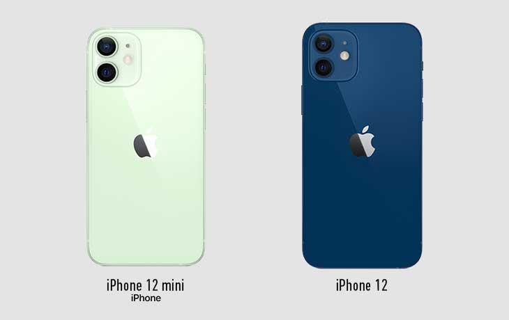 iPhone 12 mini und iPhone 12 Rückseite