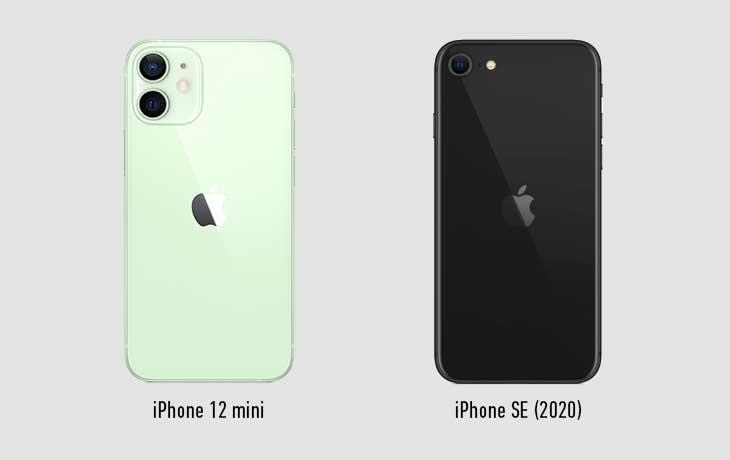 iPhone 12 mini und iPhone SE Rückseiten