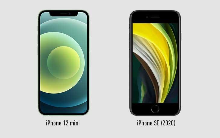 iPhone 12 mini und iPhone SE Vorderseiten