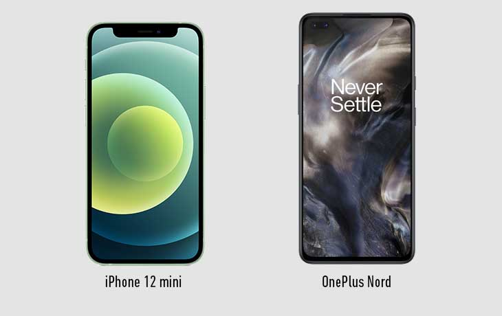 iPhone 12 mini vs. OnePlus Nord: Front