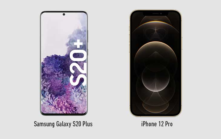 iPhone 12 vs. Samsung Galaxy S20 Plus: Front
