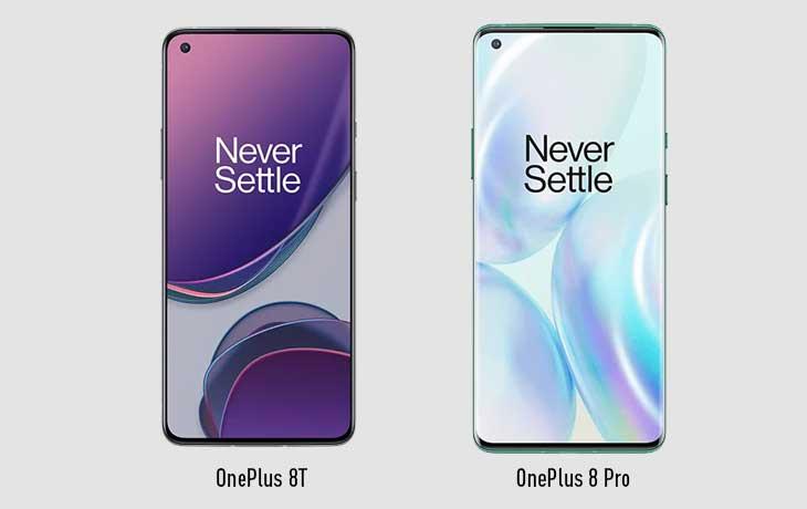 OnePlus 8T vs. OnePlus 8 Pro: Front