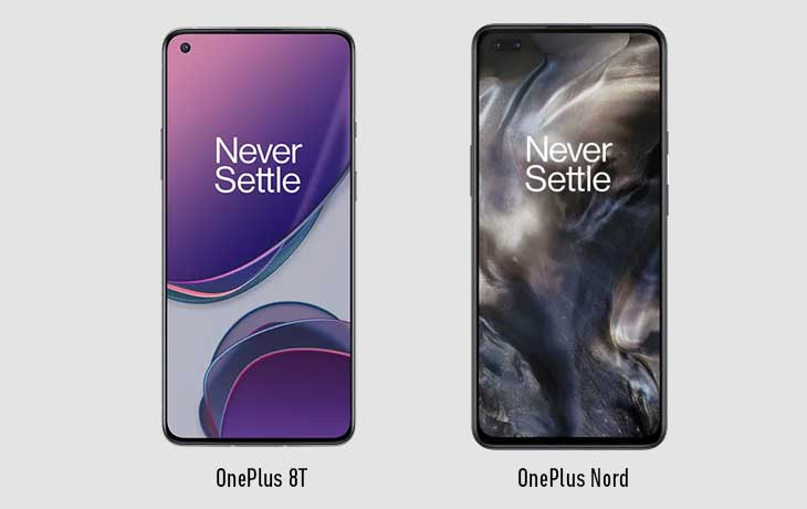 OnePlus 8T vs. OnePlus Nord: Front