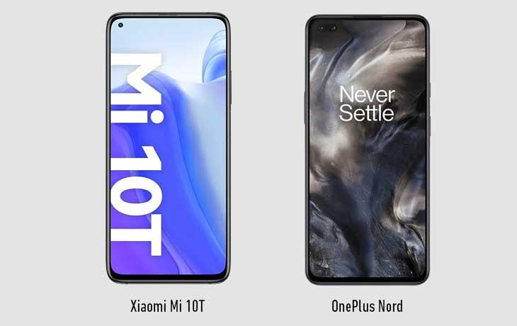 Xiaomi Mi 10T vs. OnePlus Nord: Front