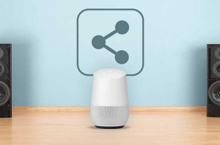 Google Home und zwei Bluetooth-Lautsprecher